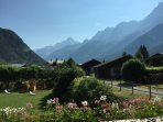 View from the balcony.  Mont Blanc Massif is on the right
