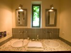 focus on the two basins of the second bathroom. Has also an italian shower.
