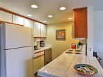 Prepare delectable homemade meals in the condo's well outfitted kitchen