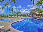 Soak up the Hawaiian sunshine next to the dazzling community outdoor swimming pool