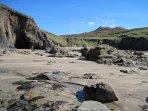 Porthmelgan beach on a sunny September day