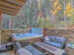 Ahhhhh... clean, bubbling, giant hot tub with cozy lounge area and firepit for s'mores!