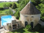 The pool, as seen from the top floor. The dove cotes dates to the 16th century