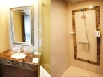 Luxurious marble bathroom design (This bathroom can be accessed from the living room)
