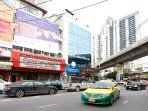 At the corner of Sukumvit 55 (or called 'Thong Lo') where you can find lots of cabs/taxi passing by.