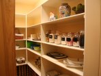 super large pantry has starter supplies and appliances