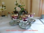 Greek Yoghurt, Fruit Compote and Granola. One of 10 choices for Breakfast.
