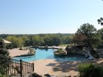View from the back patio of the adult pool.
