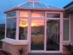 Conservatory at sunset.