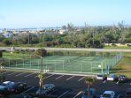 Tennis court with Indian River in the background