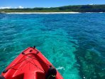 Kayaking just offshore from the Villa. Crystal clear waters. Great snorkeling.