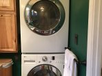 Washer and dryer in upstairs bathroom. Detergent provided for your convenience.