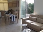 Light and airy open plan kitchen/dining/living area