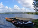Boats moored on the shore of Lough Corrib