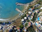 GM Villas - aerial photo of Almyrida beach and Villa Karga and Villa Nova