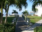 Walk way to beach, dock and pier...our unit is the building in the right OCEANFRONT.