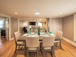 Serve and enjoy delicious meals at this elegant dining table.