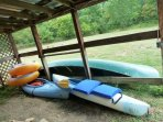Canoes and kayaks for you to use