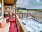 Relax & enjoy the private 6 person hot tub.