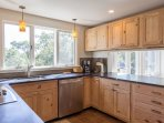 Kitchen with Soapstone Counters and Stainless Appliances