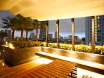 Roof top garden with city views