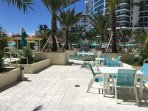New pool deck w Ocean View, Jacuzzi with waterfall. Lush Gardens, Fountains & Lots of Chairs, Tables
