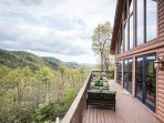 Spacious deck overlooking the mountains