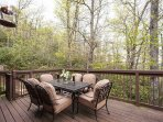 Deck seating for outside dining