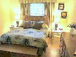 The large master bedroom has a new comfortable queen bed