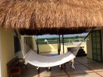 Palapa, Double hammock and three hammock chairs with plunge pool and outdoor dining area.