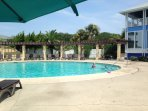 one of the 3 pools at the Cabana Club, (10 minute golf cart ride from house)