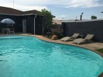 Large Pool, Tanning, Entertainment and Barbeque area. Beautiful Rose and Organic Vegetable Garden.