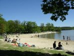Sille lake beach, 10 mins from Le Jarrier, bars / cafes boat rides, cycle hire, pedalos +activities.