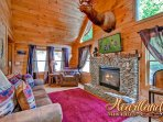 Living Room of 'Buck-Naked: cabin in Pigeon Forge TN