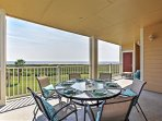 This patio features a new dining set.