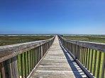 Walk down the boardwalk right onto the beach!
