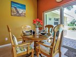 Share a meal at the sunny dining table.