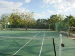 Tennis court and basketball court on the back