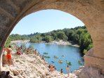 Boating, swimming, and cliff jumping at the mouth of the Herault river