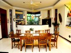The Extending dining table with open plan kitchen