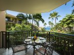 Enjoy a direct view toward the water while you dine on the lanai