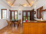 The dining room accommodates six persons