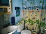 Beachy Bathroom with fairly large, easy walk-in shower and shelved cabinet. Towels too..