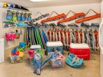 Boogy boards, snorkel gear, coolers, umbrellas, beach chairs, goggles, child and adult pool and arm floaties, kayaks...