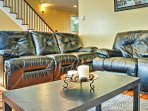 Lounge around on the comfy couches in the living area.