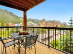 4-Chair Patio Table and Western Mountain View