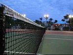 Well lit tennis court