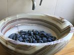 sink with natural black stone