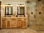 Double sinks & steam shower in master bath