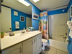 Guest bathroom with bright beach colors